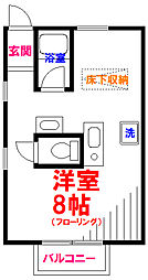 JR五日市線 東秋留駅 徒歩18分の賃貸マンション 2階ワンルームの間取り