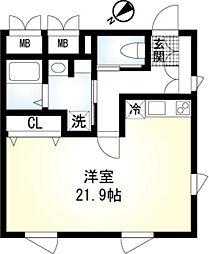 (仮称)翠川ビル新築工事 3階ワンルームの間取り