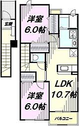 JR五日市線 秋川駅 徒歩12分の賃貸アパート 2階2LDKの間取り
