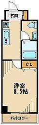 JR南武線 武蔵新城駅 徒歩15分の賃貸マンション 4階1Kの間取り