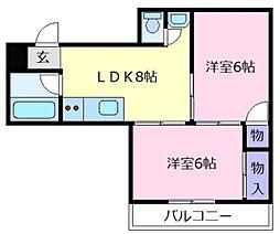 コーポイン松原[3階]の間取り