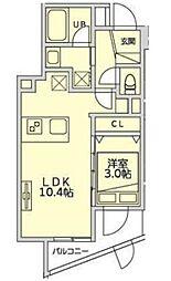 恵比寿YKマンション 2階1LDKの間取り