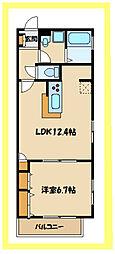 JR南武線 久地駅 徒歩9分の賃貸マンション 2階1LDKの間取り