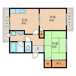 滋賀県栗東市安養寺1丁目の賃貸アパートの間取り