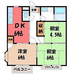 栃木県真岡市熊倉2丁目の賃貸アパートの間取り