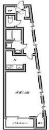 上池台ゼルコバマンション 2階1Kの間取り