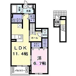 愛知県豊橋市大岩町字荒古の賃貸アパートの間取り