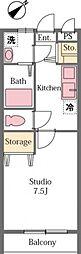 東武東上線 東松山駅 徒歩12分の賃貸アパート 1階1Kの間取り