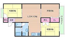 大阪府箕面市桜ケ丘1丁目の賃貸アパートの間取り