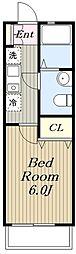 小田急江ノ島線 湘南台駅 徒歩10分の賃貸アパート 2階1Kの間取り