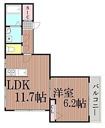 東京都品川区大井5丁目の賃貸マンションの間取り