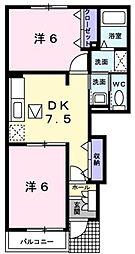 新潟県新潟市西蒲区前田の賃貸アパートの間取り