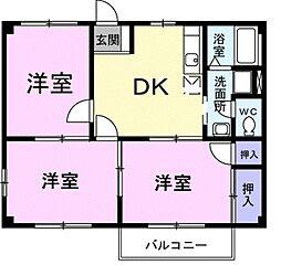 愛知県豊川市平井町東野地の賃貸アパートの間取り