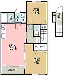 西武多摩湖線 武蔵大和駅 徒歩3分の賃貸アパート 2階2LDKの間取り