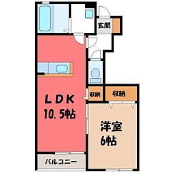 東武日光線 新大平下駅 徒歩1分の賃貸アパート 1階1LDKの間取り