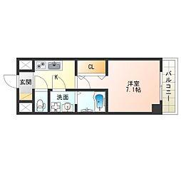 阪神なんば線 九条駅 徒歩8分の賃貸マンション 8階1Kの間取り