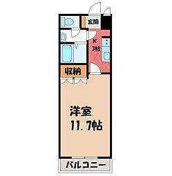 栃木県栃木市野中町の賃貸アパートの間取り