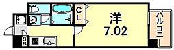 阪急神戸本線 春日野道駅 徒歩1分の賃貸マンション 6階1Kの間取り
