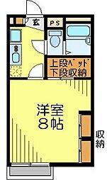 JR川越線 南古谷駅 徒歩19分の賃貸アパート 1階1Kの間取り