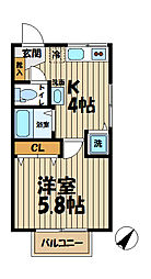 Raffine Kasama[201号室]の間取り