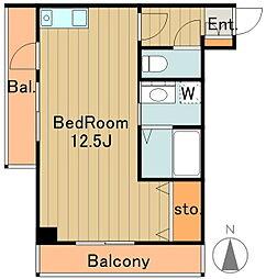 フォンテーヌ雅 4階ワンルームの間取り