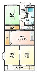 愛知県岡崎市六名本町の賃貸マンションの間取り