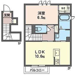 旭区さちが丘シャーメゾン (仮) 2階1LDKの間取り