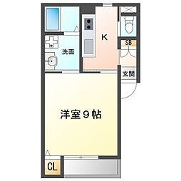 名鉄名古屋本線 東岡崎駅 徒歩10分の賃貸アパート 1階1Kの間取り