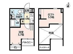 南海高野線 狭山駅 徒歩18分の賃貸アパート 2階1Kの間取り