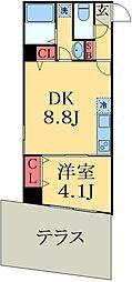 JR総武線 幕張駅 徒歩9分の賃貸マンション 1階1DKの間取り