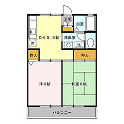 埼玉県吉川市高富1の賃貸アパートの間取り