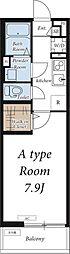 つくばエクスプレス 南流山駅 徒歩13分の賃貸アパート 1階1Kの間取り