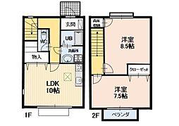 長野県小諸市大字八満の賃貸アパートの間取り