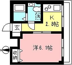 リヴェール永山 3階1Kの間取り