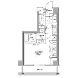 ザ・パークハビオ神泉 地下5階ワンルームの間取り