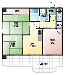 ロイヤルコーポ加古川[6階]の間取り