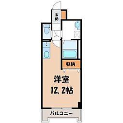 JR東北本線 宇都宮駅 徒歩6分の賃貸マンション 9階1Kの間取り