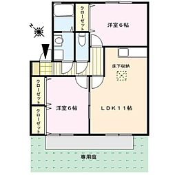 カーサ江戸屋敷A棟[1階]の間取り