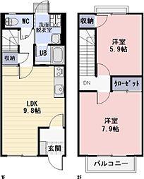 滋賀県甲賀市水口町虫生野の賃貸アパートの間取り