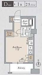 都営大江戸線 両国駅 徒歩8分の賃貸マンション 5階ワンルームの間取り