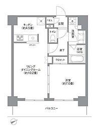OASE SHIBAURA RESIDENCE オアーゼ芝浦レジデンス 13階1LDKの間取り