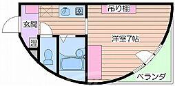阪急千里線 千里山駅 徒歩18分の賃貸マンション 2階ワンルームの間取り