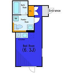 東急目黒線 西小山駅 徒歩7分の賃貸マンション 2階ワンルームの間取り