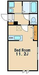 ohana 2階ワンルームの間取り