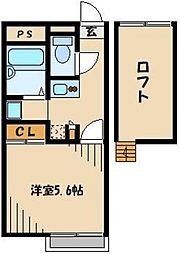 JR川越線 笠幡駅 徒歩7分の賃貸アパート 1階1Kの間取り