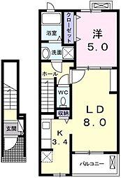愛知県岡崎市大樹寺1丁目の賃貸アパートの間取り