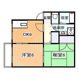 JR阪和線 三国ヶ丘駅 徒歩4分の賃貸アパート 2階2DKの間取り