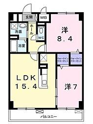 JR南武線 久地駅 徒歩3分の賃貸マンション 5階2LDKの間取り