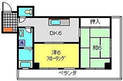 キャッスル松弥[402号室]の間取り