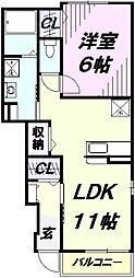 埼玉県入間市鍵山3丁目の賃貸アパートの間取り